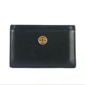 CHANEL Leather Card Holder Wallet